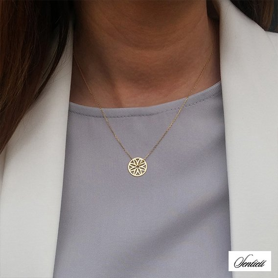 Silver (925) necklace - circle with openwork flower, gold-plated
