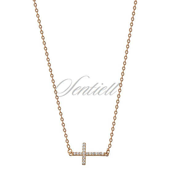 Silver (925) necklace cross with zirconia - gold-plated