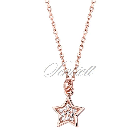 Silver (925) necklace - star with zirconia - rose gold-plated