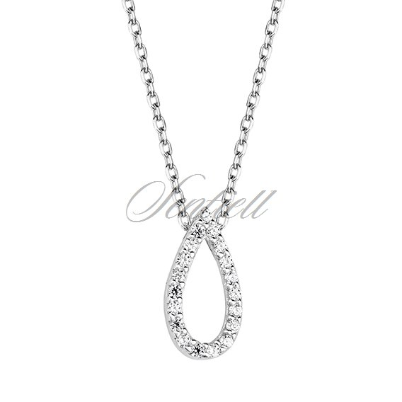 Silver (925) necklace - tear shape pendant with zirconia