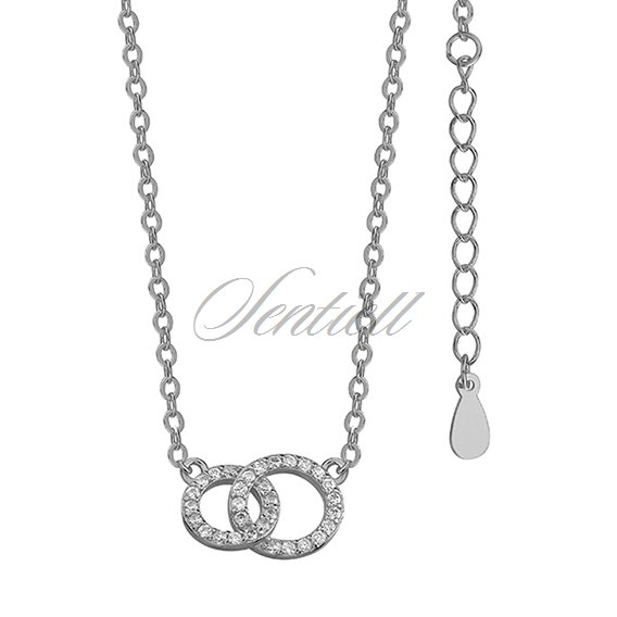 Silver (925) necklace two circles  with zirconia