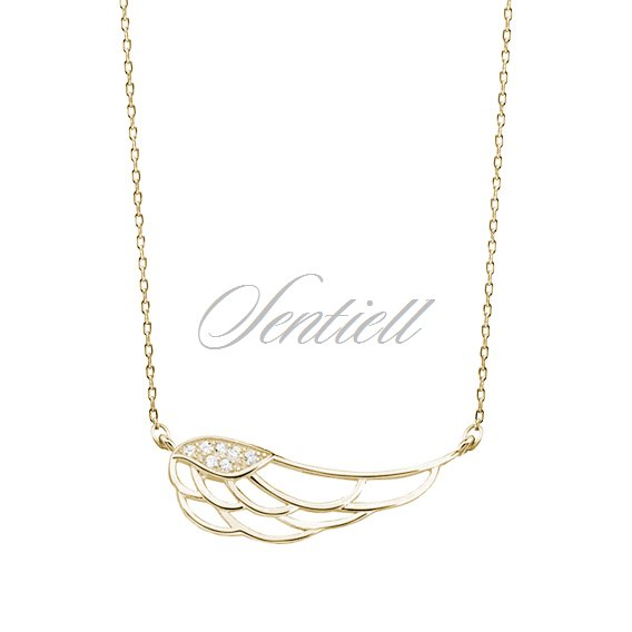 Silver (925) necklace - wing with zirconia, gold-plated