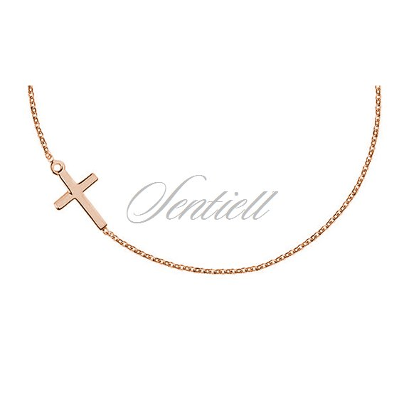 Silver (925) necklace with cross, rose gold-plated