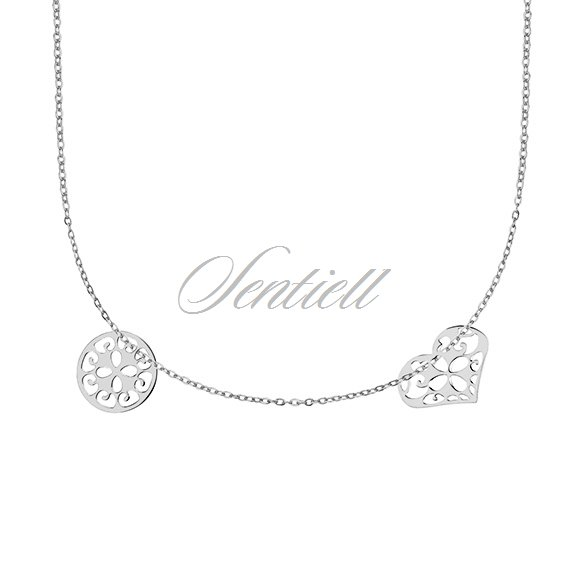 Silver (925) necklace with open-work round pendant and heart