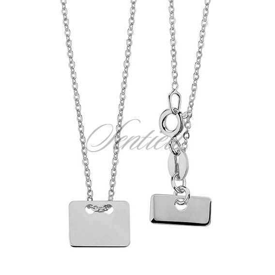 Silver (925) necklace with rectangle pendant and metal tag