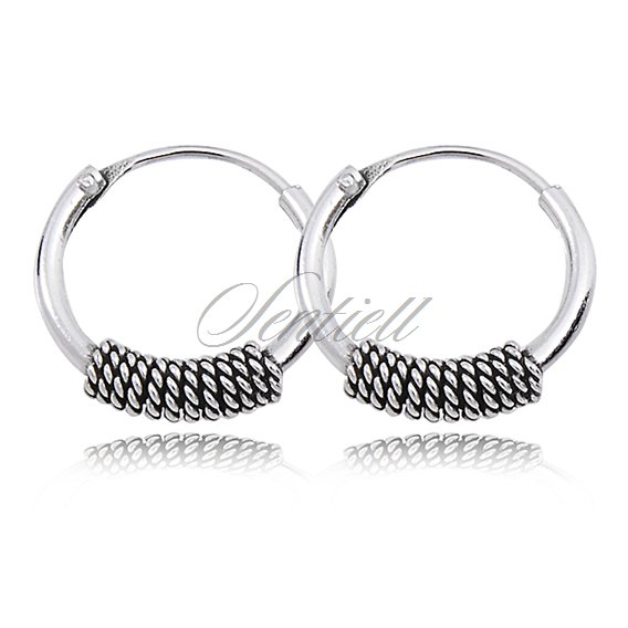 Silver (925) oxidized hoop earrings