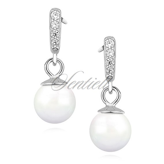 Silver (925) pearl earrings with zirconia