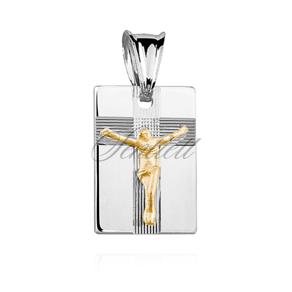 Silver (925) pendant Jesus on cross - gold-plated