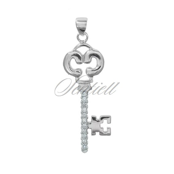 Silver (925) pendant Zirconia rhodium-plated Heart key