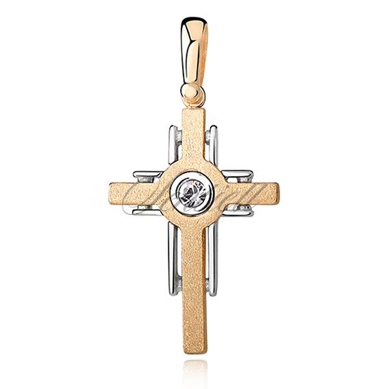 Silver (925) pendant cross with zirconia and gold-plated satin