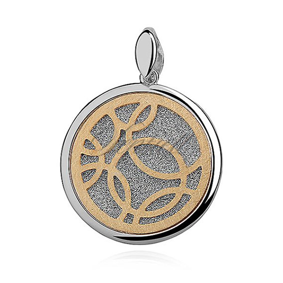 Silver (925) pendant - diamond-cut with gold-plated circles