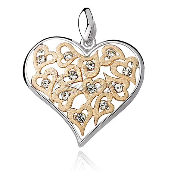 Silver (925) pendant openwork heart with zirconia and gold-plated satin