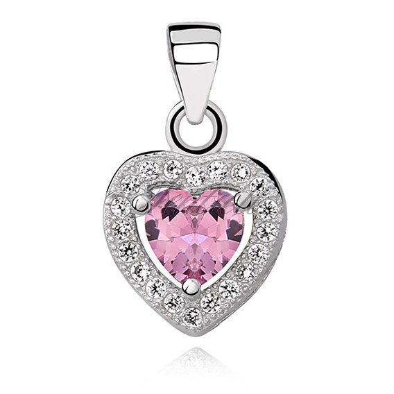 Silver (925) pendant pink colored zirconia - heart