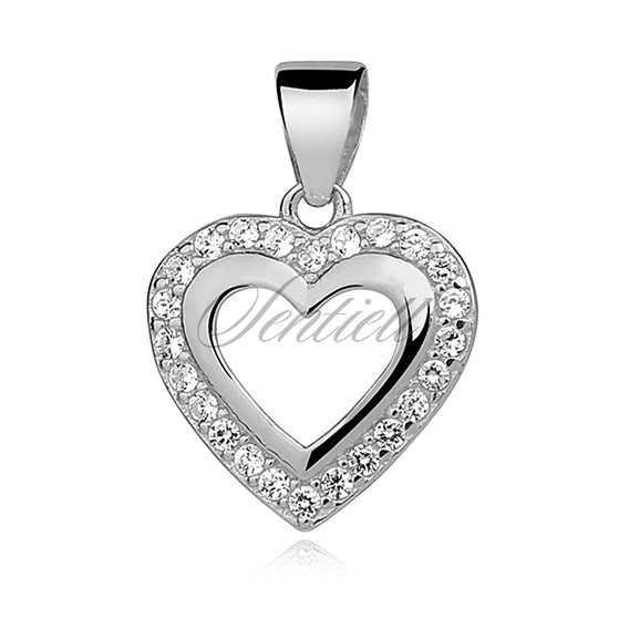 Silver (925) pendant white zirconia - heart adored with zirconia