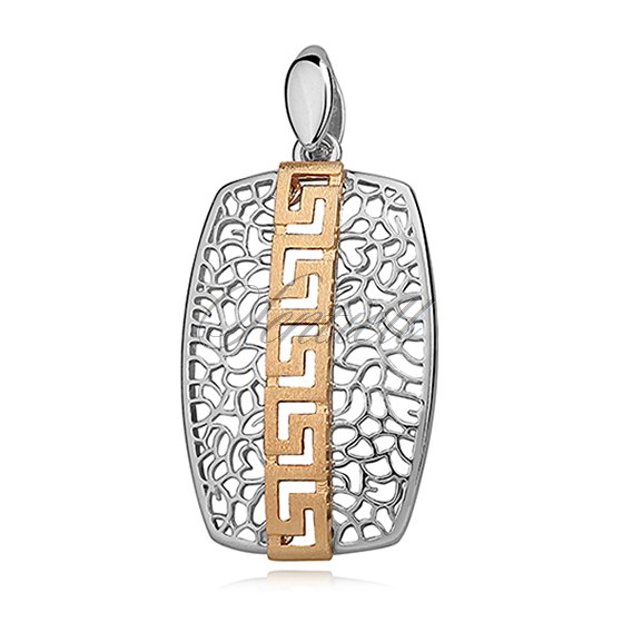 Silver (925) pendant with greek gold-plated pattern