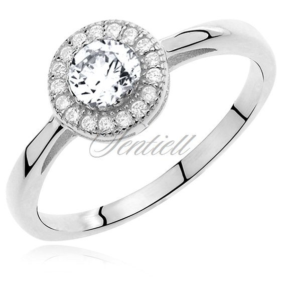 Silver (925) ring with white round zirconia microsetting