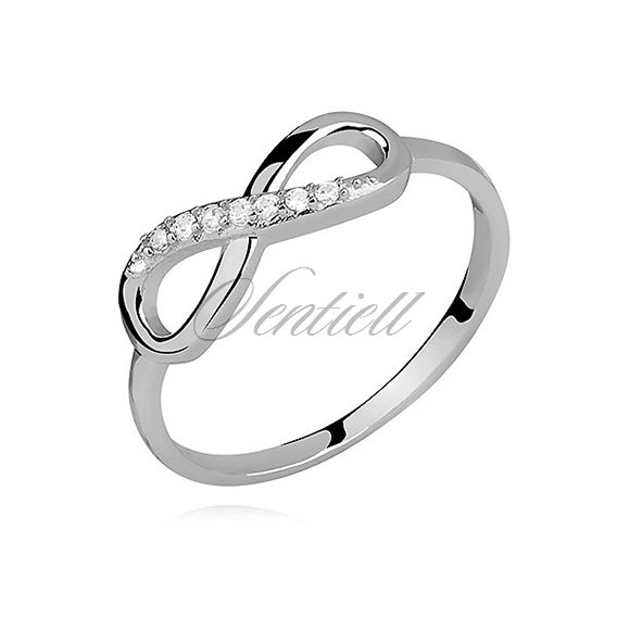 Silver (925) ring with white zirconia Infinity