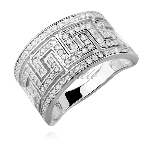 Silver (925) ring with white zirconia, greek pattern