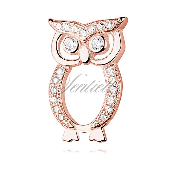 Silver (925) rose gold-plated Owl pendant with zirconia