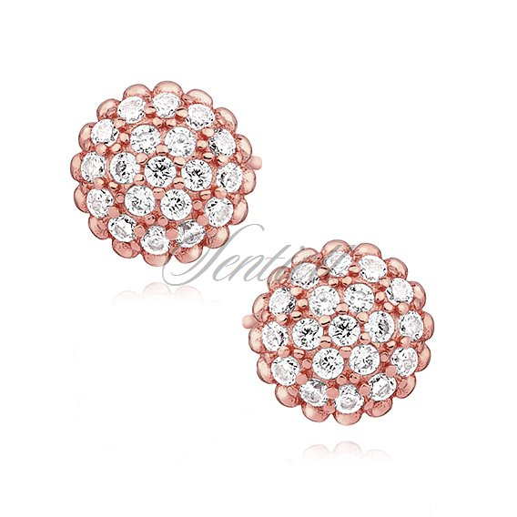 Silver (925) rose gold-plated earrings with zirconia