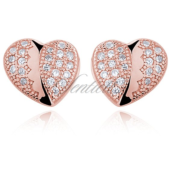 Silver (925) rose gold-plated heart earrings with zirconia - różówe złoto