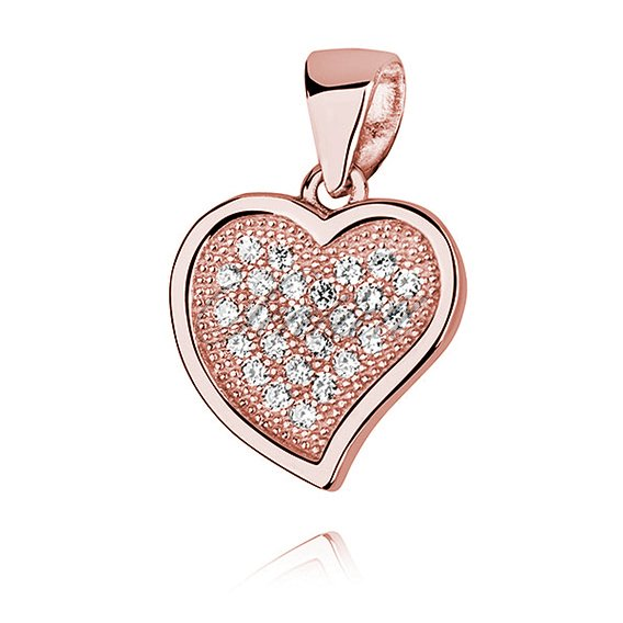 Silver (925) rose gold plated pendant - hollow heart with zirconia