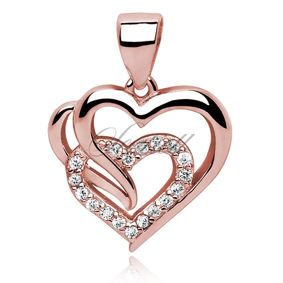Silver (925) rose gold-plated triple heart pendant with white zirconia