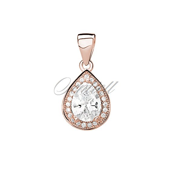 Silver (925) rose gold-plated pendant with white zirconia