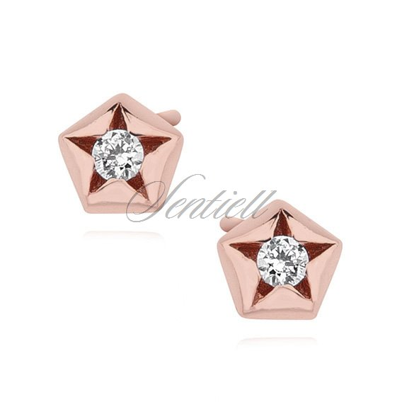 Silver (925) rose gold-plated star shape earrings with zirconia