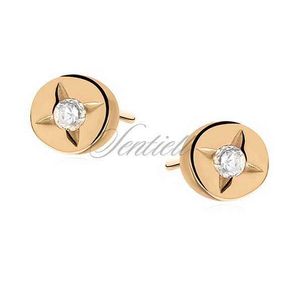 Silver (925) round earrings gold-plated white zirconia
