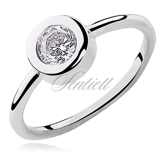 Silver (925) round ring white zirconia