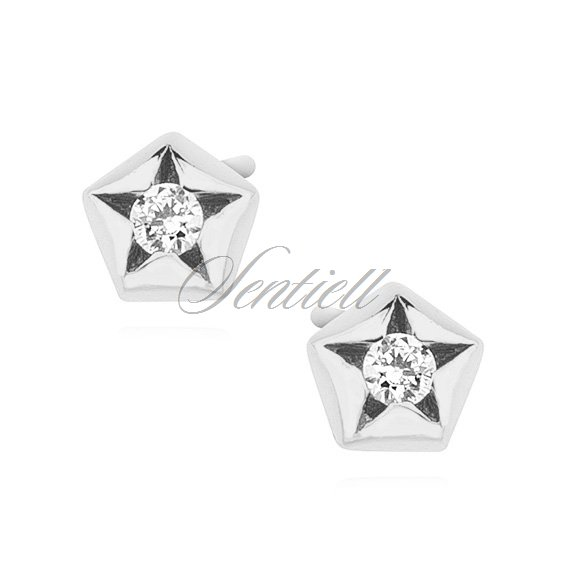 Silver (925) star shape earrings with zirconia