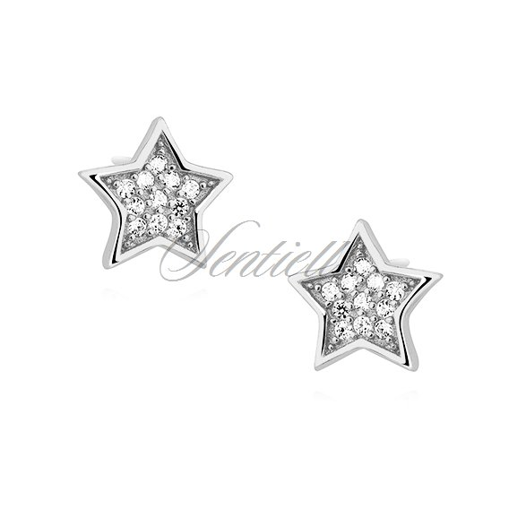 Silver (925) stars earrings with zirconia