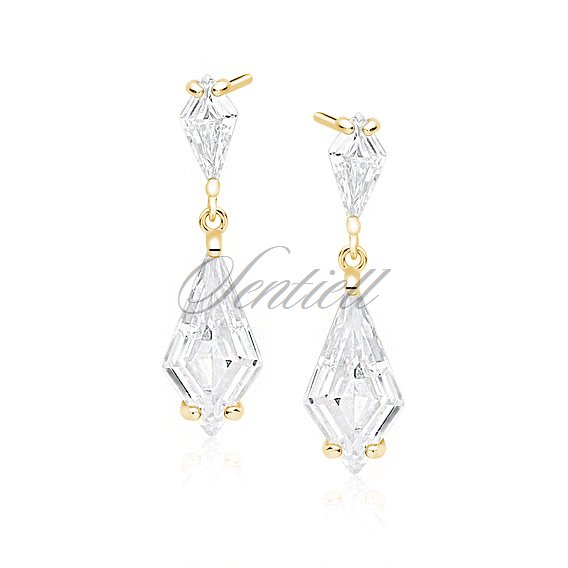 Silver (925) stylish, bridal earrings with zirconia, gold-plated
