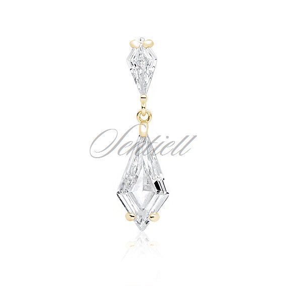 Silver (925) stylish, bridal, gold-plated pendant with white zirconia