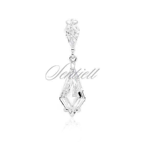 Silver (925) stylish, bridal pendant with white zirconia
