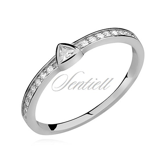 Silver (925) subtle ring with zirconia - triangle