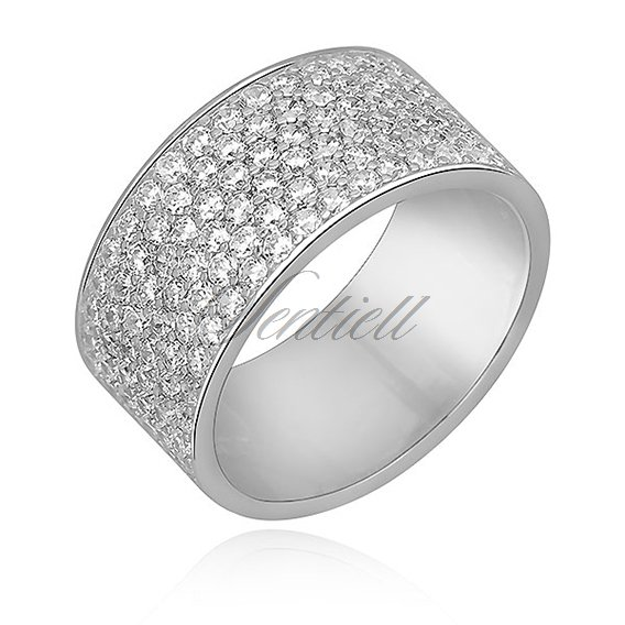 Silver (925) wide ring with white zirconia