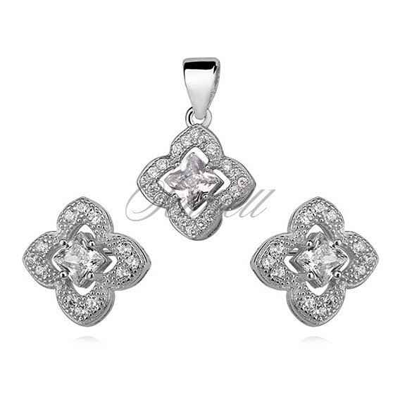 Silver Set (925)  impressive flowers with zirconia - white