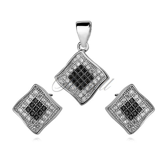 Silver Set (925)  impressive white and black zirconia - rhombus
