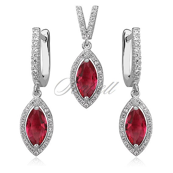 Silver Set (925) ruby marquise zirconia