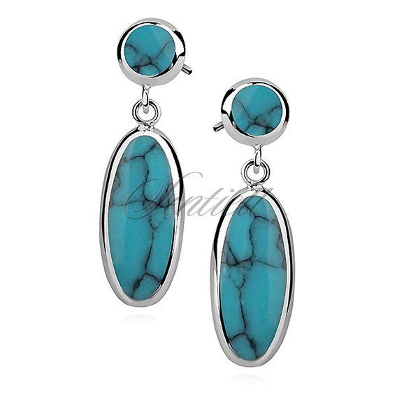 Silver earrings 925 charm - oval - turquoise