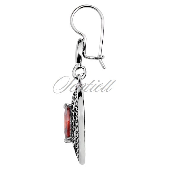 Silver earrings 925 red garnet  zirconia