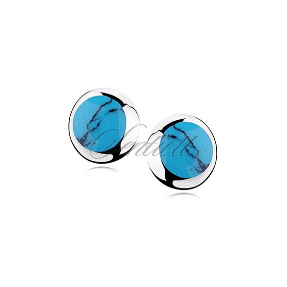 Silver earrings 925 round - Turquoise