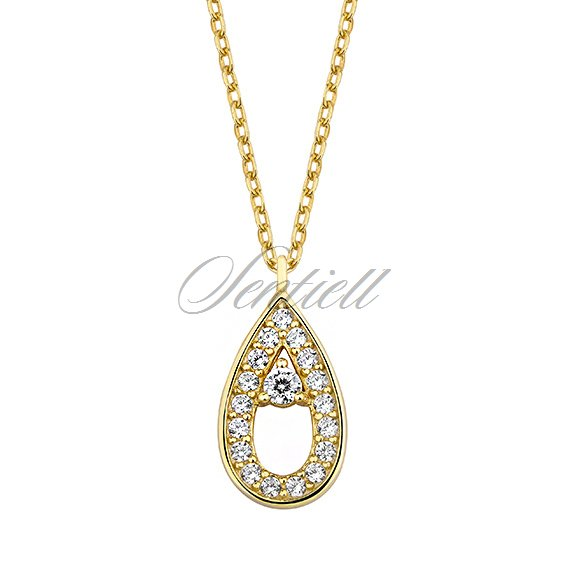 Silver gold-plated (925) necklace  - teardrop with zirconia