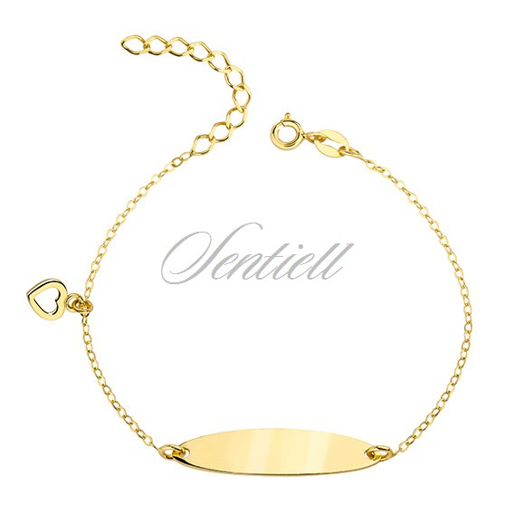 Silver, gold-plated bracelet with a tag and heart - adjusted length