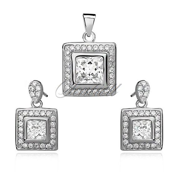 Silver set (925) white zirconia in double frame
