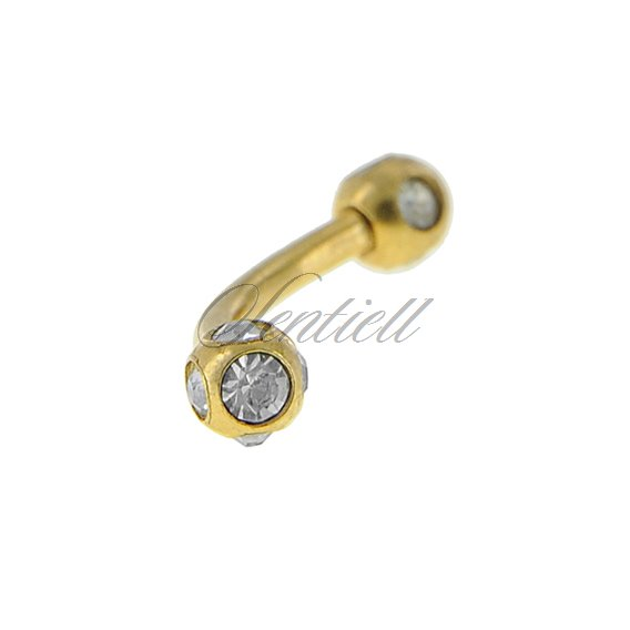 Stainless steel (316L) banana piercing for eyebrow - golden balls with zirconia