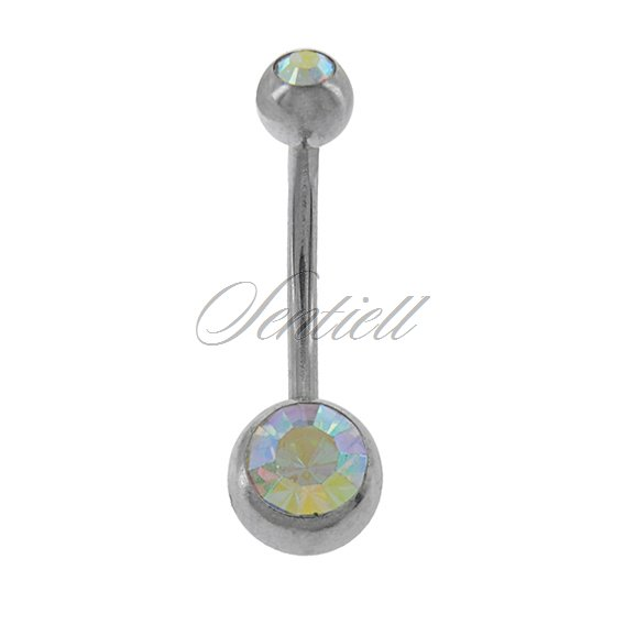 Stainless steel (316L) navel piercing with ball - multicoloured zirconia