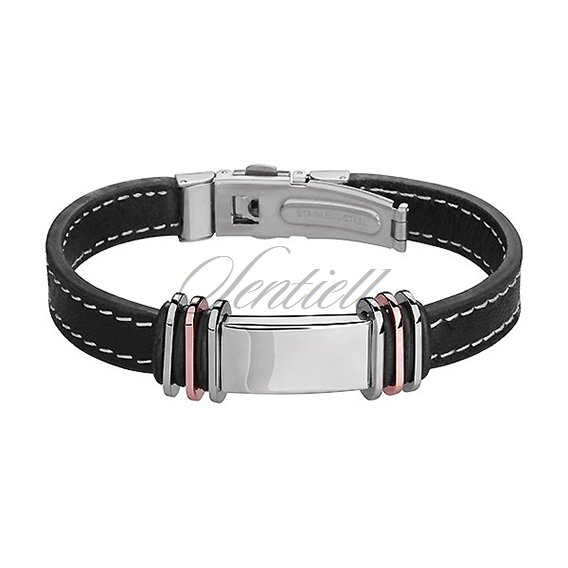 Stainlesss steel (316L) bracelet made ​​of genuine leather
